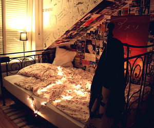 bed, room, and light image