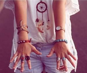 bracelets, short, and watch image