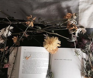 aesthetic, books, and flower image