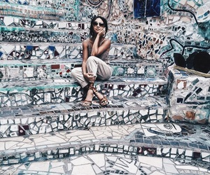 girl, blue, and travel image