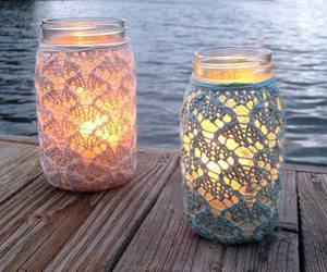 light, candle, and sea image