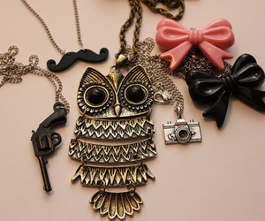 owl, necklace, and bow image