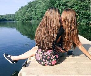 gay pride, girls, and lake image