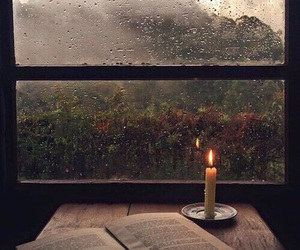 book, rain, and candle image