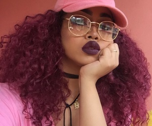 glasses, pink, and hair image
