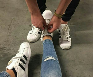 adidas, couple, and goals image
