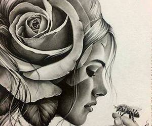 art, bee, and black and white image
