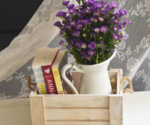 books, flowers, and room deco image
