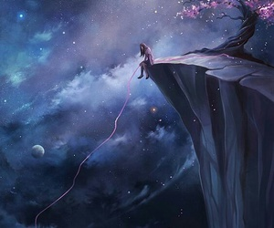 art, stars, and cherry tree image