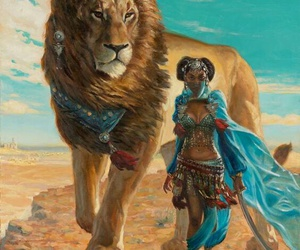 lion, African, and art image
