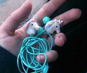 unicorn, blue, and headphones image
