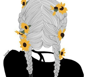 outline, girl, and flowers image