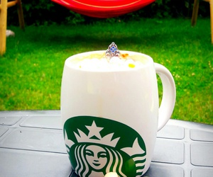 cup, mashmellows, and starbucks image