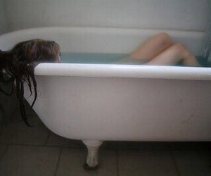girl, bath, and sad image