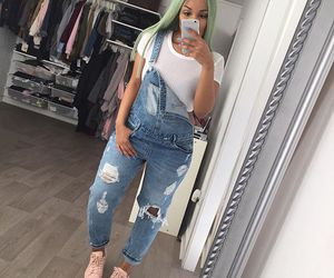 style, fashion, and overalls image