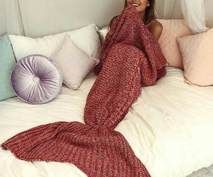 mermaid, girl, and blanket image