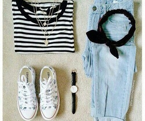 outfit, jeans, and shoes image