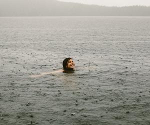 rain, girl, and ocean image