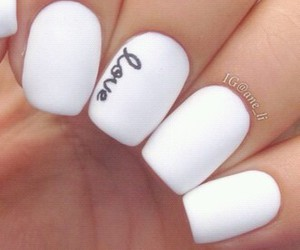 white, nails, and love image