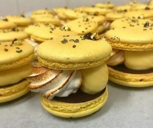 yellow, macarons, and chocolat image