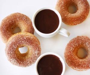 coffee, doughnuts, and cinnamon sugar image