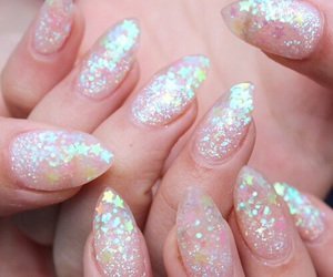 nails, glitter, and pastel image