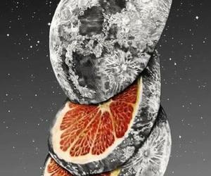 moon, orange, and art image