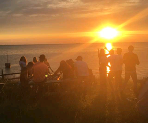 sunset, summer party, and summer nights image