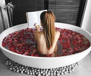 rose, bath, and book image