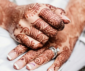 henna, hands, and wedding image