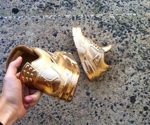 gold, jordan, and shoes image