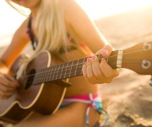 girl, summer, and guitar image