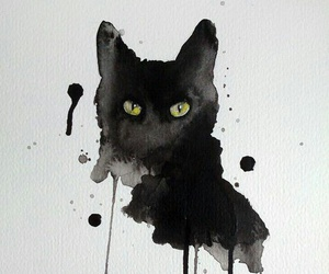 cat, watercolor, and art image