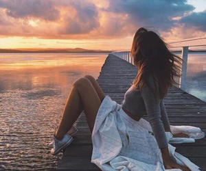 girl, sunset, and summer image