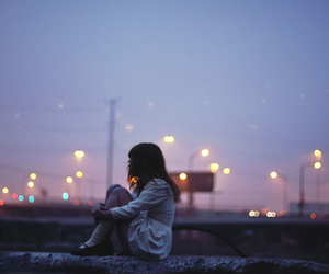 girl, light, and alone image
