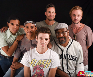 the flash, tom felton, and grant gustin image