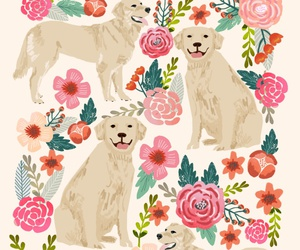 background, dog, and floral image