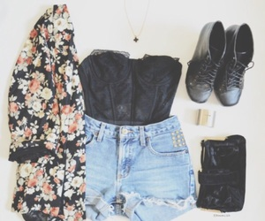 black, outfit, and floral image