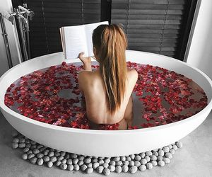 rose, bath, and book image