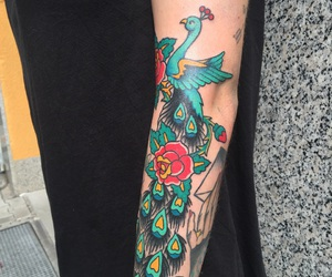 peacock, sailorjerry, and traditionaltattoo image