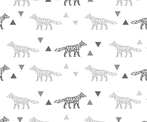 background, fox, and black and white image
