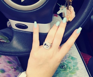blue nails, mini cooper, and engagement ring image