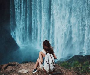 waterfall, girl, and photography image