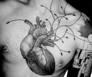 art, b&w, and tattoo image