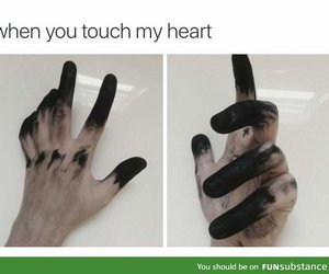 heart, black, and funny image