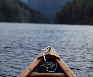 boat, lake, and water image