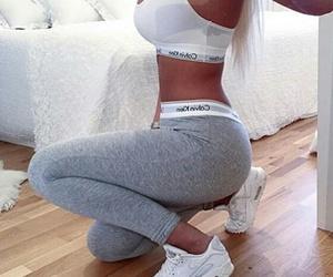blonde, Calvin Klein, and grey image