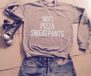 converse, clothes, and pizza image