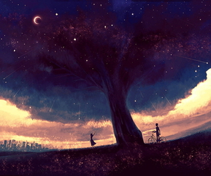 stars, sky, and tree image