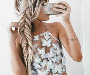 blond, clothes, and fish image